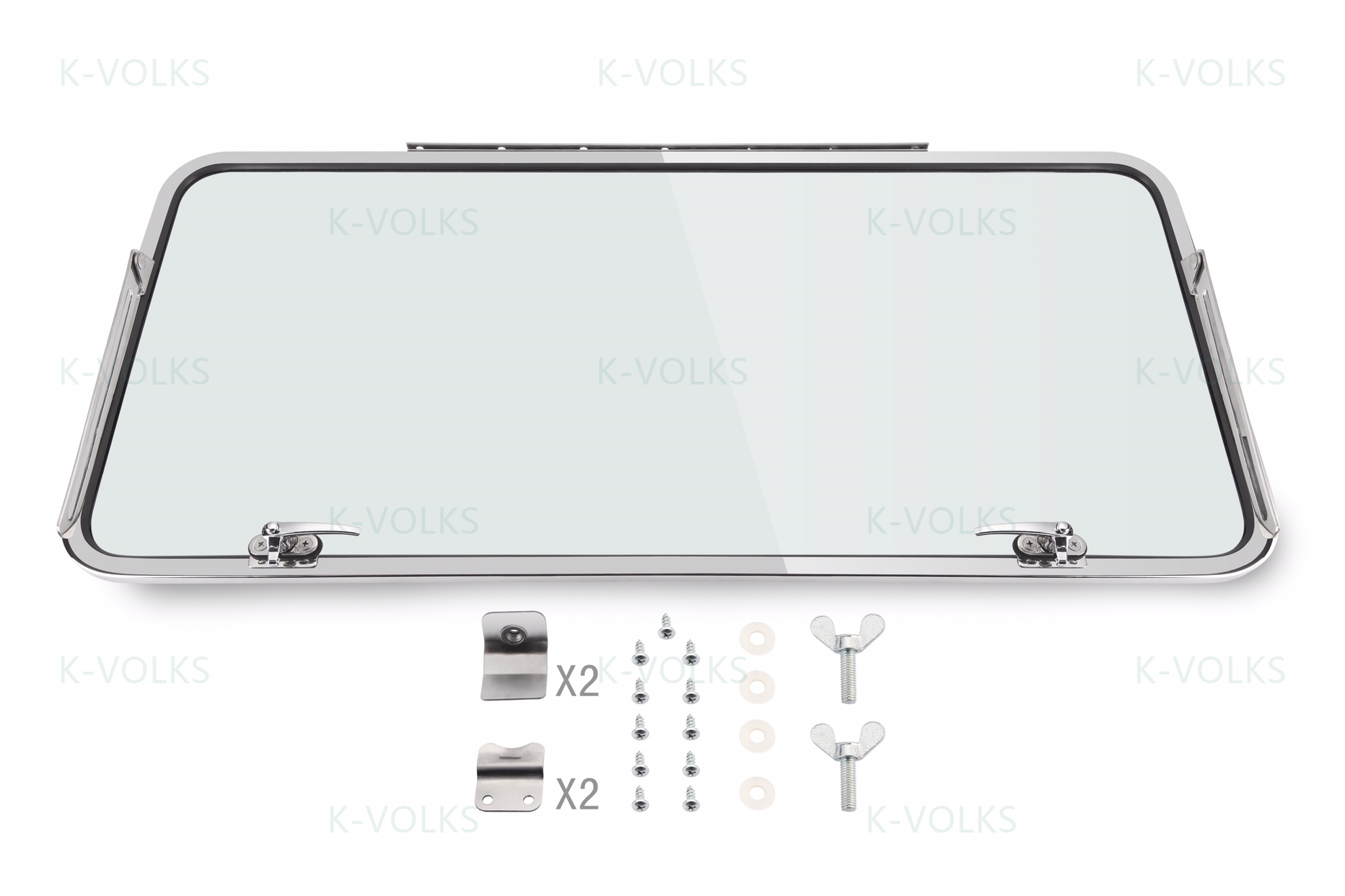 Deluxe Small Rear Safari Window Kit Type 2 Bus 1955-1963 Stainless Steel