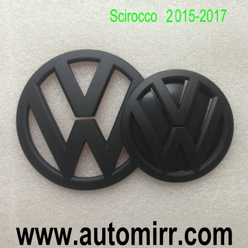 VW Scirocco front grille Emblem and Rear boot logo glossy shiny/Matte/Carbon black fits VW Scirocco 2009-2017 badges