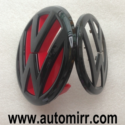 Golf MK6 emblem logo matte/glossy black with red background fits VW Golf VI GTI 6 badges front and rear