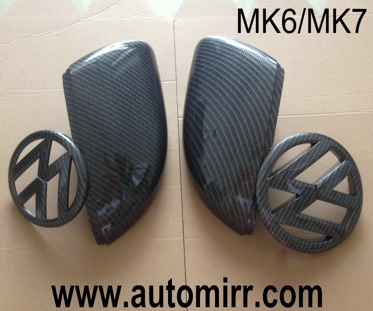 Golf 6 7 Scirocco Front Logo And Rear Boot Emblem And Side Wing Mirror Covers Carbon