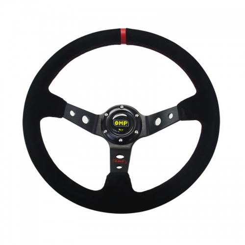 OMP 14inch 350mm Racing Style Car Steering Wheel universal PVC leather suede Deep Corn Drifting