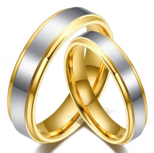 Raised Center Plated Finish Tungsten Couples Rings with Yellow Gold  Edges