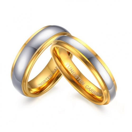 Domed Polished Tungsten Carbide Couples Rings