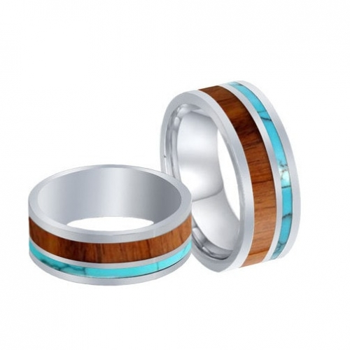 Tungsten Carbide Wedding Band with Wood and Turquoise Inlay
