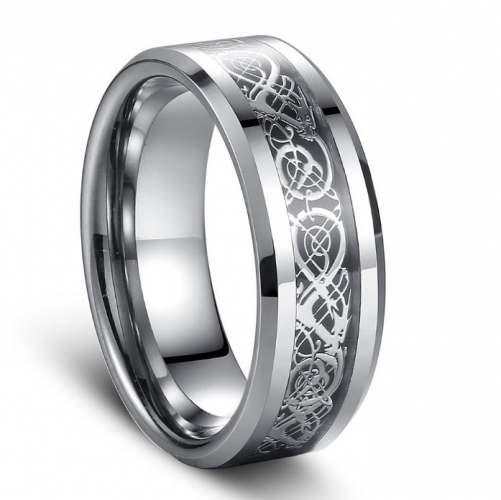 Polished Tungsten Carbide Ring with Beveled Edges - 8mm