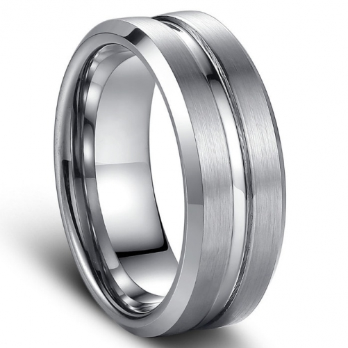 Brushed Tungsten Carbide Ring with Polished Beveled Edges and Groove - 8mm