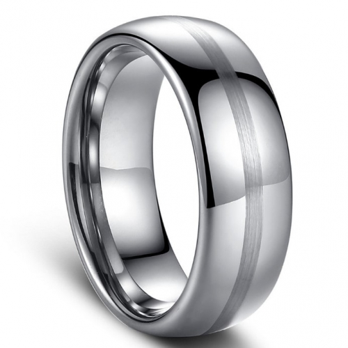 Domed Polished Tungsten Carbide Ring - 8MM