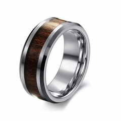Polished Tungsten Carbide Ring with Beveled Edges and Wood Inlay - 8mm