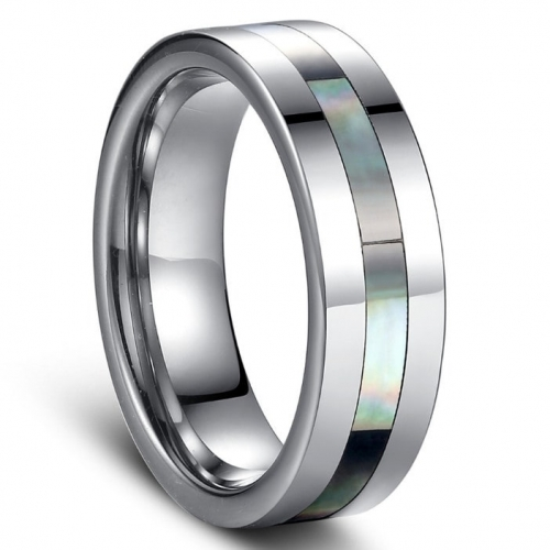 Polished Tungsten Carbide Ring with Natural Shell Inlay - 8mm