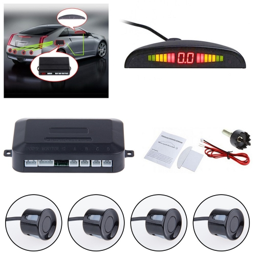 Car LED Parking Sensor With 4 Sensors Car Reverse Backup Radar System Kit Reverse Sensor