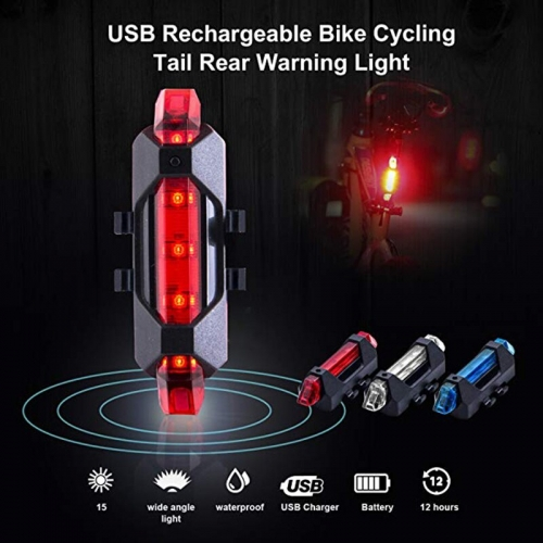 USB Rechargeable Bicycle LED Taillight Rear Tail Safety Warning Cycling Portable Light