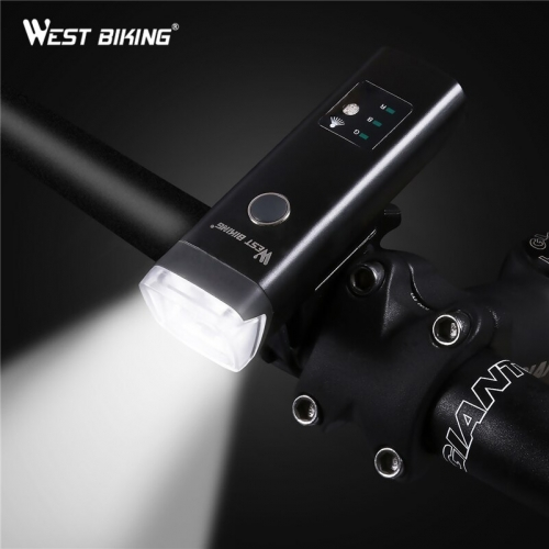 WEST BIKING Bicycle Headlight Sensor USB Charging Bicycle Waterproof Flashlight