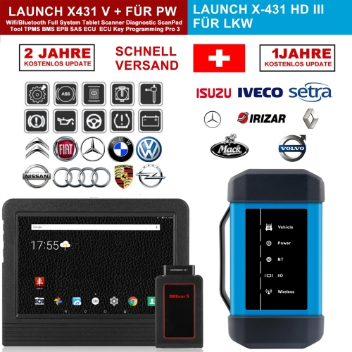 "Launch X431 V+ & X431 HD3 heavy duty 10.1 ""Screen Tablet Bluetooth / wifi auto diagnostic scanner test of trucks & cars Complete!"