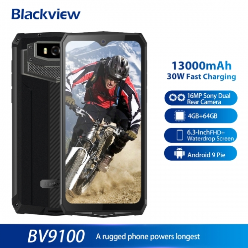 Blackview BV9100 IP68 Waterproof Mobile Phone 13000mAH 30W Fast Charging 4G Mobile Phone MTK6765 4GB + 64GB 16.0MP Rugged Smartphone