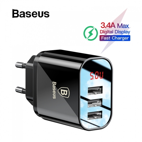 Baseus Digital Display Charging USB Charger for Samsung / Xiaomi Phone Charger 3.4A Max
