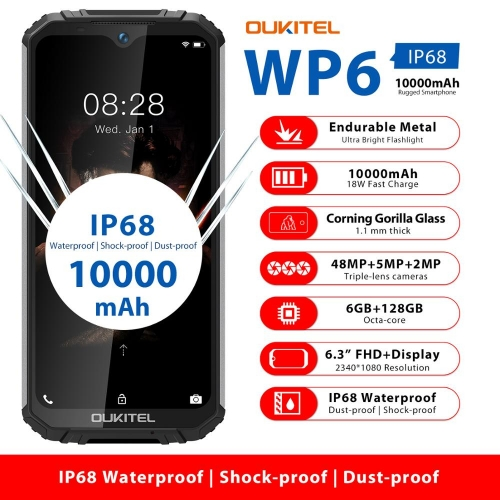 OUKITEL WP6 6.3 inch 19.5: 9 mobile phone MT6771T Octa Waterproof shockproof 9V / 2A 10000mAh battery 6GB RAM 128G ROM smartphone
