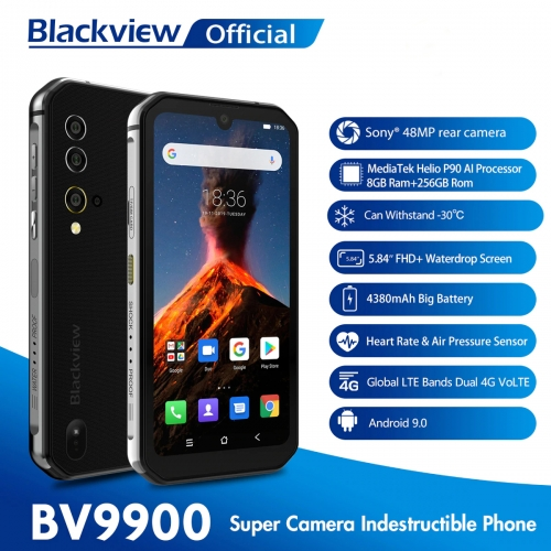 Blackview BV9900 Helio P90 Octa Core 8GB 256GB IP68 Robust Android 9.0 48MP quad rear camera NFC smartphone
