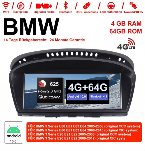 8.8 Inch Qualcomm Snapdragon 625 8Core 2.0 GHZ Android 10.0 4G LTE Car Radio/Multimedia 4GB 64GB For BMW 5 Series E60 E61 E63 3 Series E90 CCC/CIC