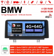 10.25 inch Qualcomm Snapdragon 625(MSM8953)8Core A53 2.0 GHZ Android 10.0 4G LTE car radio/multimedia 4GB 64GB For BMW 1 Series /3 Series/4 Series NBT