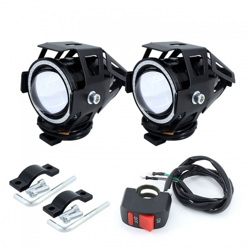 2PCS 125W motorcycle headlight with Angel Eye Devil Eye 3000LM Moto headlight U7 LED fog light headlight decorative lamp