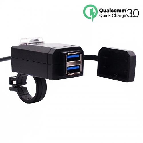 Motorcycle QC3.0 USB Charger Waterproof Dual USB Moto Quick Fast Charging 12-24V for motocicleta 22mm Handlebar
