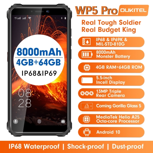 OUKITEL WP5 Pro IP68 waterproof smartphone 4GB RAM + 64GB ROM 8000 mAh Android 10 13MP triple camera 5.5 inch mobile phone