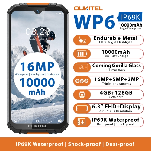 OUKITEL WP6 Rugged Smartphone 6.3'' FHD+ IP68 Waterproof 4GB+128GB Octa Core 16MP+5MP Triple Cameras OTG Mobile phone 10000mAh