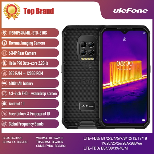 Ulefone Armor 9 thermal camera Robust phone Android 10 Helio P90 Octa-Core 8GB 128GB mobile phone 6600 mAh 64 MP camera smartphone