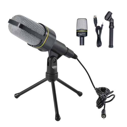 SF-920 Cardioid Condenser Microphone Professional Recording Mic with Tripod Stand & 3.5mm Plug Compatible with Computers