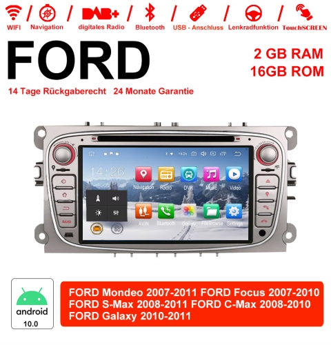 7 Inch Android 10.0 Car Radio / Multimedia 2GB RAM 16GB ROM For Ford Focus Galaxy Mondeo S-Max C-Max Silver