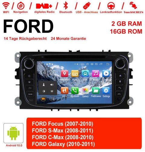 7 Inch Android 10.0 Car Radio / Multimedia 2GB RAM 16GB ROM For Ford Focus Galaxy Mondeo S-Max C-Max Black