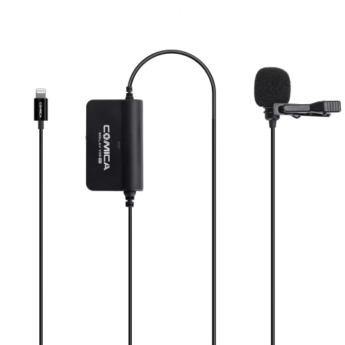 Comica CVM-V05 MI Multifunctional Single Lavalier Microphone Smartphone Mic with Stepless Gain Control Real-Time Audio Monitoring Functions Compatible