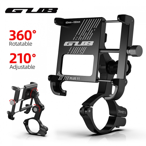 "GUB PLUS 11 Aluminum Bike Phone Holder For 3.5"" to 7.5"" Device Bicycle Phone Stand Scooter Moto Mount Support Handlebar Clip"
