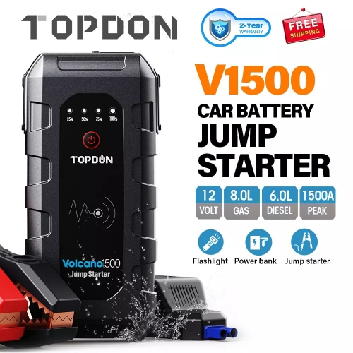 TOPDON 1500A Peak Car Jump Starter 12V Emergency Battery Power Bank 18000mAh Auto Battery Booster Charger for 8L Gas 6L Diesel