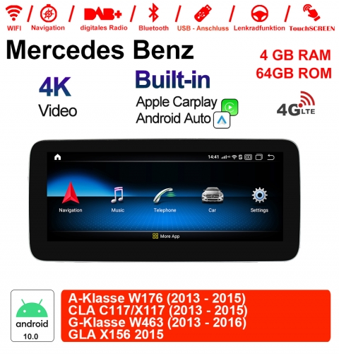10.25 Inch Snapdragon 625 8 Core Car Radio / Multimedia 4GB RAM 64GB ROM For Benz A-Klasse W176 CLA C117/X117 G-Klasse W463 GLA X156 Built-in CarPlay