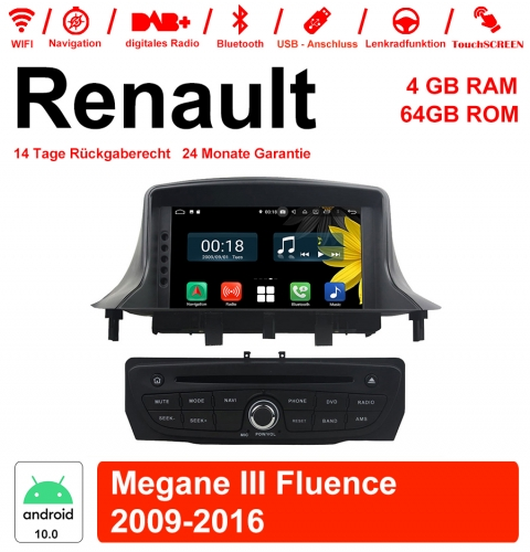 7 inch Android 10.0 car radio / multimedia 4GB RAM 64GB ROM For RENAULT Megane III With WiFi NAVI Bluetooth USB