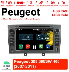 7 inch Android 10.0 car radio / multimedia 4GB RAM 64GB ROM For Peugeot 308 308SW 408 2007-2011 With WiFi NAVI Bluetooth USB
