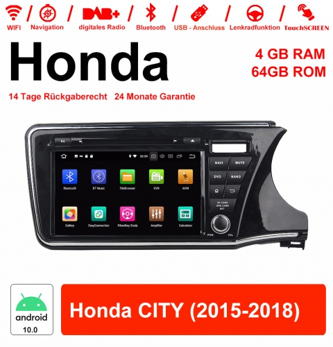 9 inch Android 10.0 car radio / multimedia 4GB RAM 64GB ROM for Honda CITY 2015-2018 with WiFi NAVI Bluetooth USB
