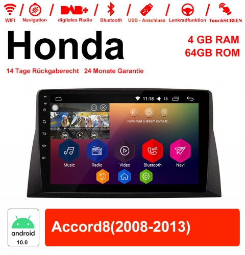10.1 inch Android 10.0 car radio / multimedia 4GB RAM 64GB ROM for Honda Accord8 with WiFi NAVI Bluetooth USB
