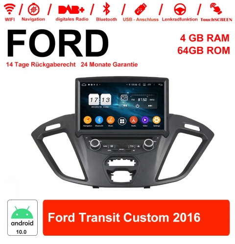 8 inch Android 10.0 car radio / multimedia 4GB RAM 64GB ROM for Ford Transit Custom 2016 with WiFi NAVI Bluetooth USB