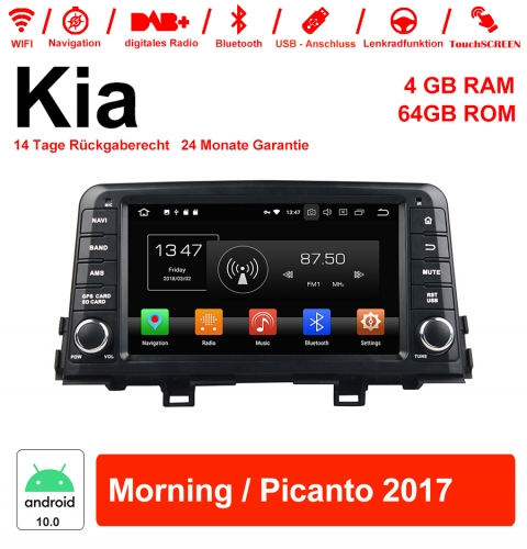 8 inch Android 10.0 car radio / multimedia 4GB RAM 64GB ROM for Kia Morning / Picanto 2017 with WiFi NAVI Bluetooth USB