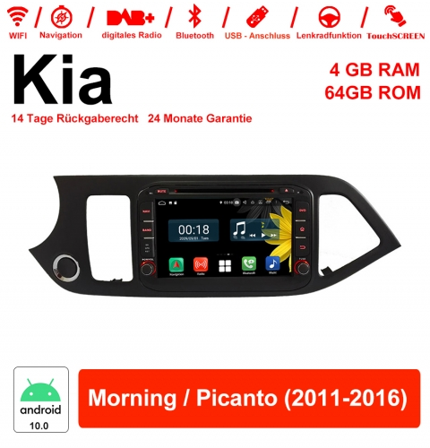 8 inch Android 10.0 car radio / multimedia 4GB RAM 64GB ROM for Kia Morning / Picanto 2011-2016 with WiFi NAVI Bluetooth USB