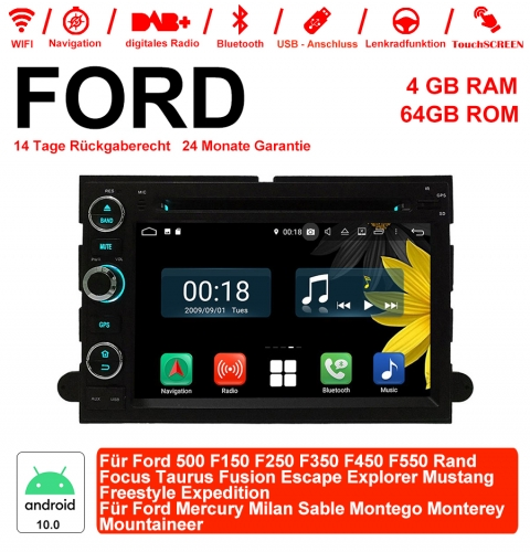 7 inch Android 10.0 car radio /Multimedia 4GB RAM 64GB ROM for Ford 500 F150 ..Rand Focus Taurus Fusion Escape Explorer Mustang Freestyle Expedition