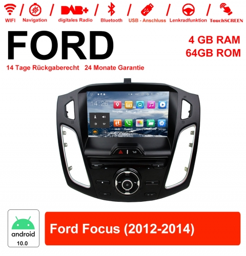 9 inch Android 10.0 car radio / multimedia 4GB RAM 64GB ROM for Ford Focus 2012-2014 with WiFi NAVI Bluetooth USB