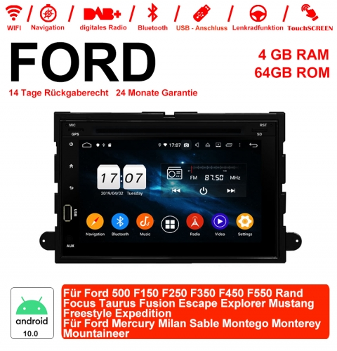 7 inch Android 10.0 Car Radio/Multimedia 4GB RAM 64GB ROM For Ford 500 F150 ...Rand Focus Taurus Fusion Escape Explorer Mustang Freestyle Expedition..