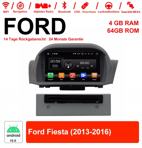 7 inch Android 10.0 car radio / multimedia 4GB RAM 64GB ROM for Ford Fiesta 2013-2016 with WiFi NAVI Bluetooth USB