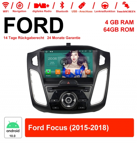 9 inch Android 10.0 car radio / multimedia 4GB RAM 64GB ROM for Ford Focus 2015-2018 with WiFi NAVI Bluetooth USB