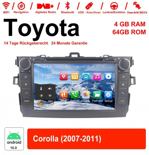 8 inch Android 10.0 car radio / multimedia 4GB RAM 64GB ROM for Toyota Corolla 2007-2011 with WiFi NAVI Bluetooth USB