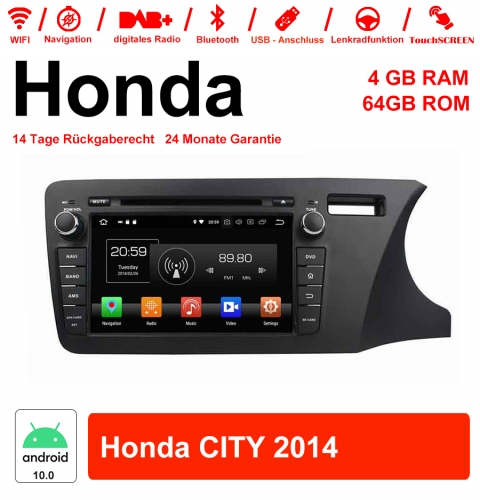 8 inch Android 10.0 car radio / multimedia 4GB RAM 64GB ROM for Honda CITY 2014 with WiFi NAVI Bluetooth USB