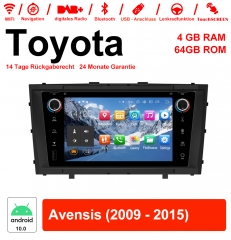 7 inch Android 10.0 car radio / multimedia 4GB RAM 64GB ROM for Toyota Avensis 2009 - 2015 with WiFi NAVI Bluetooth USB